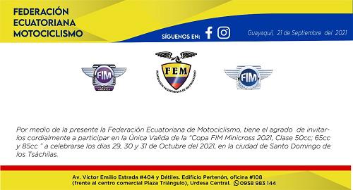Invitación a la Copa FIM Latin America de Minicross- Ecuador 2021.